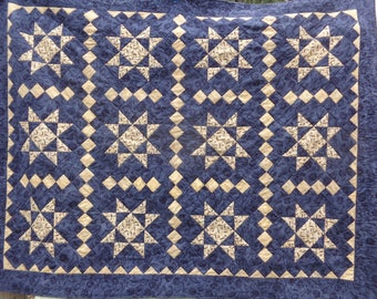 Navy Ohio Star and patchwork Lap Quilt, 0324-03