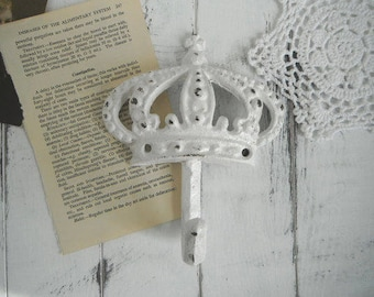 crown hook white wall hook rustic hook paris apartment nursery decor clothing hook shabby cottage cast iron white hook cottage chic