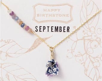 September Birthstone Necklace : Sapphire with liberty tassel