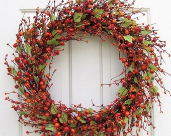 FALL WREATH SALE Large Fall Wreath   Fall Pip Berry Wreath   Large Front Door  Wreath