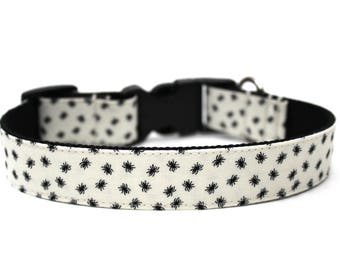 "Spider Dog Collar 3/4"" or 1""  Halloween Dog Collar Matching Bow Available"