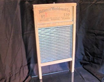 Antique Glass and Wood Wash Board / National Washboard Co. / Farmhouse Decor