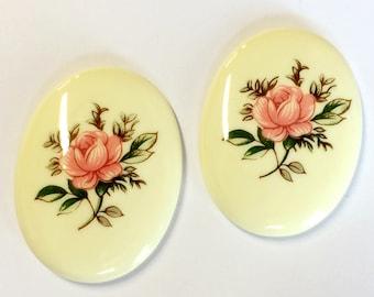 Vintage German Cameos, 2 Piece, Floral Chintz Rose, Glass Cameos, Porcelain Cameos, Vintage Supplies, 40 x 30mm, B'sue Boutiques, Item03151