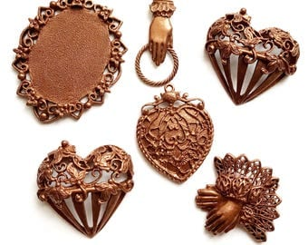 B'sue by 1928 Cast Pewter, Pendants, Hearts, Gingerbread and Rusted Iron, Seconds, Jewelry Making, B'sue Boutiques, Item03537