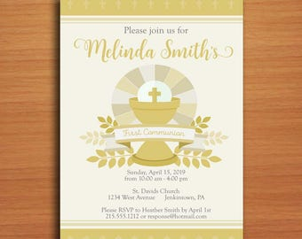 Gold Chalice First Communion Customized Printable Invitation Cards DIY