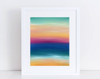 Modern Art Print, Stripes Art Print, Beach Print, Abstract Landscape, clouds, sky, Sea, Ocean, Water