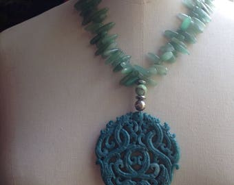 Statement carved jade necklace with large blue pendant and aventurine Frida Kahlo necklace advanced style bold summer necklace