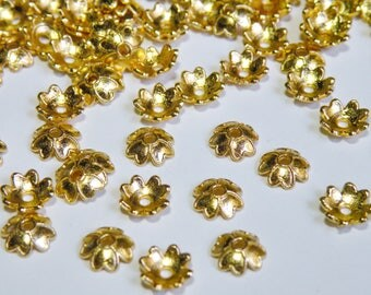 50 Shiny Gold Bead Caps 4 four leaf clover flower bead caps 7.5x7.5mm PD348-05G