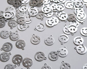 50 Tiny Smiley Face Emoji charms flat round stainless steel 9x7.5mm PM258