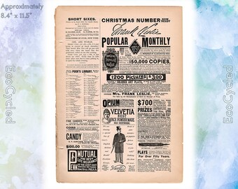 Puck's Library 1890 Magazine ad old 1890s ad Various Magazine Advertisements Antique Vintage Paper Ephemera historical art print ads 2