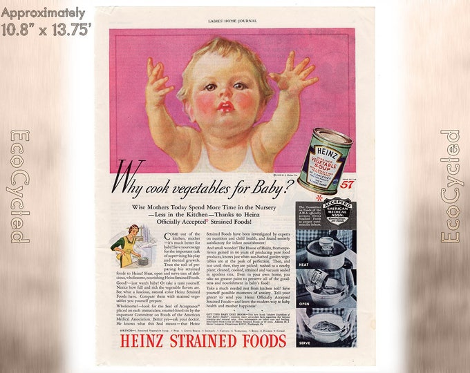 Ladies Home Journal 1935 Heinz Baby Food ad, old 1930s ad Magazine Advertisements Antique Vintage Paper Ephemera historical art print ad 19