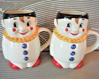 Clown coffee mugs vintage Goebel,mime , red yellow black red, primary colors