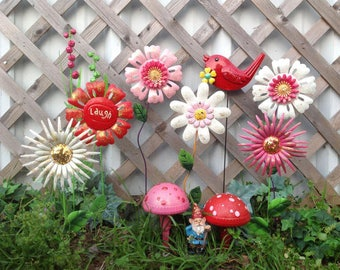 Whimsy Garden Stakes - Metal Flowers, A Gnome & A Bird - Yard Art - 12 Pieces - Pink/Red/White