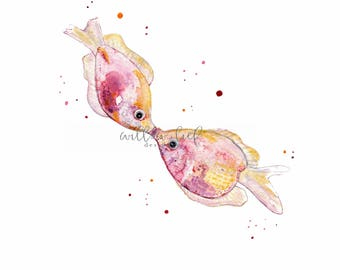 Kissy, Kissing Pink Fish, Watercolor Print, fish watercolor, wall art, beach art, kissing fish