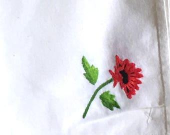 12 Vintage Cotton Napkins Embroidered Flower