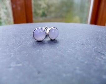 Blue Lace Agate  Sterling Silver stud Earrings