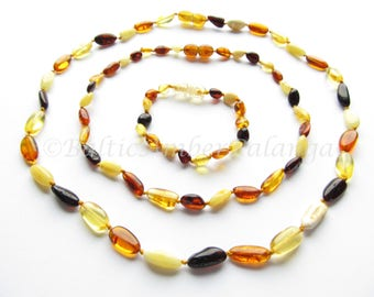 Set Of Multicolor Baltic Amber Baby Teething Necklace and Bracelet/Anklet and Mothers Reminding Necklace