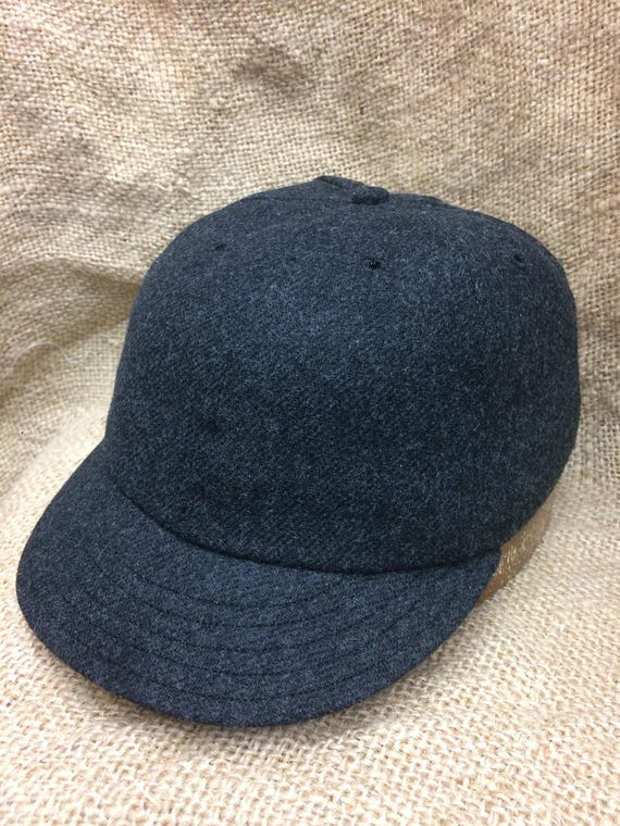 Charcoal grey soft wool flannel 6 panel cap, custom made to order. Fitted to any size. Select your size at checkout