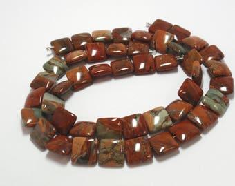 "Green Poppy Jasper Square Beads, 12mm Natural Gemstone Green Poppy Jasper Beads, 11"" Strand - 23 Beads"
