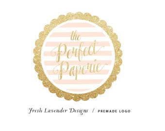 Custom Logo Design Premade Logo and Watermark for Photographers and Small Crafty Businesses Gold Glitter Stripe Scallop