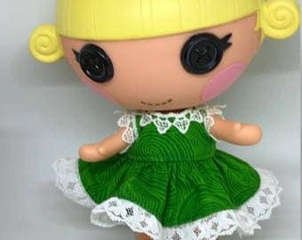 Handmade Dress for Lalaloopsy Little Doll // Little Sister // Doll Clothes // Stocking Stuffer // Under 10 // For Girls // Swirly Green