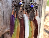 Autumn Song - Boho Gypsy Feather Earrings