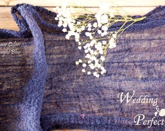 Midnight Blue Textured Table Runner Weddings Special Events Decor Hand Dyed Cotton Scrim Cheesecloth Runner w Texture Length Choice
