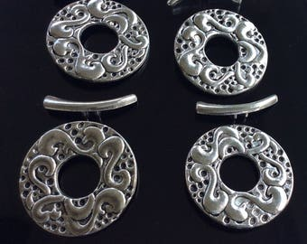 Antique Silver Plated Toggle Clasp 4PCS