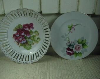 Vintage Handpainted Rose plate & bowl