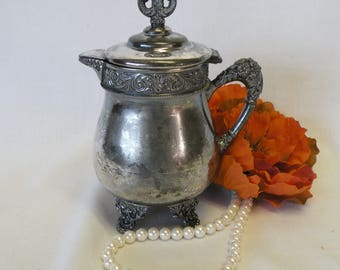 Silverplate Creamer, Vintage Creamer with Lid - Vase, Syrup Container, Queen City Silver Co., Tea Party, Home Decor