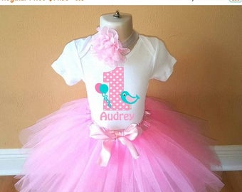 ON SALE Girls Pink Bird Birthday Personalized Shirt Tutu Headband Set - ANY Age