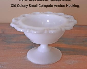 Anchor Hocking Old Colony Milk Glass Compote Lace Edge Vintage