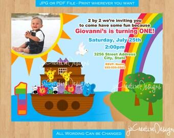 Noah's Ark Invitation Noah's Ark birthday party Noah's Ark Invite Noah's Ark Party supplies Noah's Ark 1st Birthday invitation Boy Twins