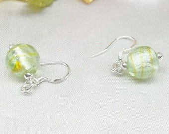 Light Green Earrings Foil Glass Earrings Peridot Earrings Dangle Earrings Lever Back Earrings 925 Sterling Silver Earrings BuyAny3+Get1Free