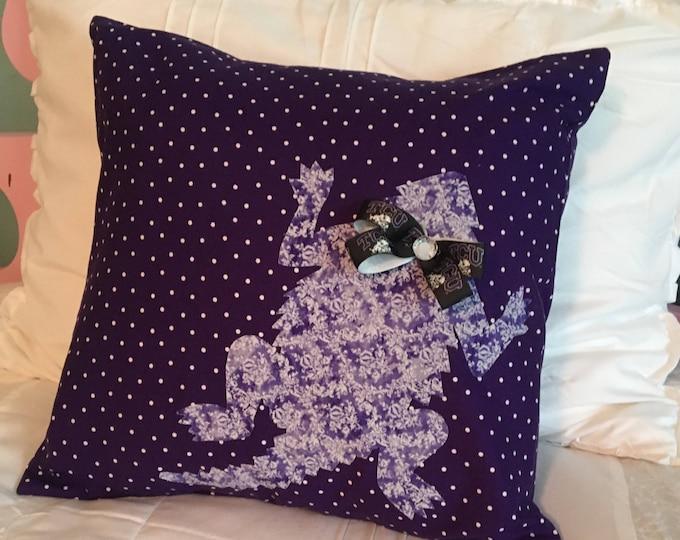 Adorable Purple Polka Dot TCU Horned Frog Pillow 16x16 Pillow Cover Purple Applique