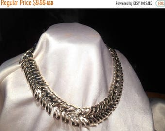 50% Off Sale Vintage Silver Tone Slinky Chain Choker Statement Necklace