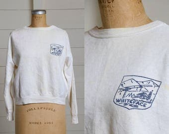 1950s Sweatshirt Whiteface Mountain Ski Resort NY Distressed White Cotton Sweatshirt