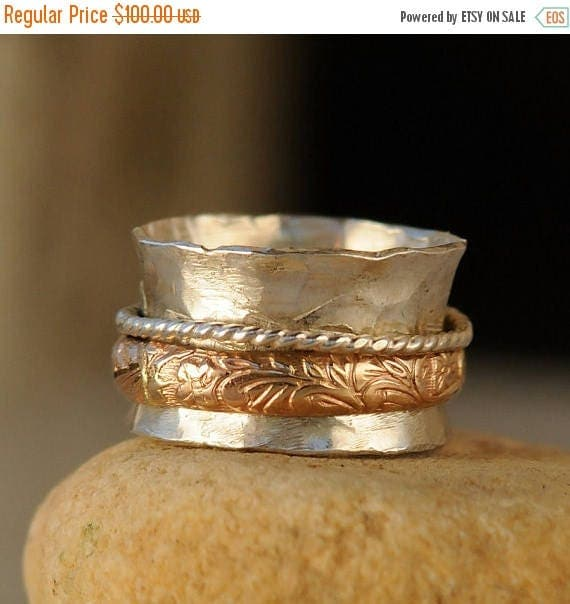 ON SALE Sterling Silver Spinner Ring - Gold Accents Fidget Ring - Spinning Ring