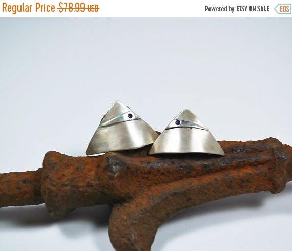 ON SALE Post Earrings - Modern Sterling Silver Post Earrings - Sapphire Post Earrings