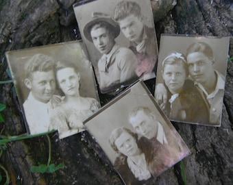 Vintage Lot of 5 Gem Miniature Photos - Couples - Friends