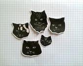 Sticker Sad kitties handprinted (pack of 5)