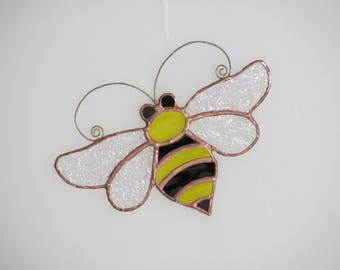 Stained Glass Bumble Bee Suncatcher - Price Includes Shipping