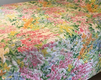 Vintage Bedspread Quilted Spring Flowers Bedcover Full/Queen
