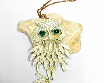 Vintage Owl Pendant, copper necklace, white enamel, Rhinestones eyes, retro animal figural, Item No. B900