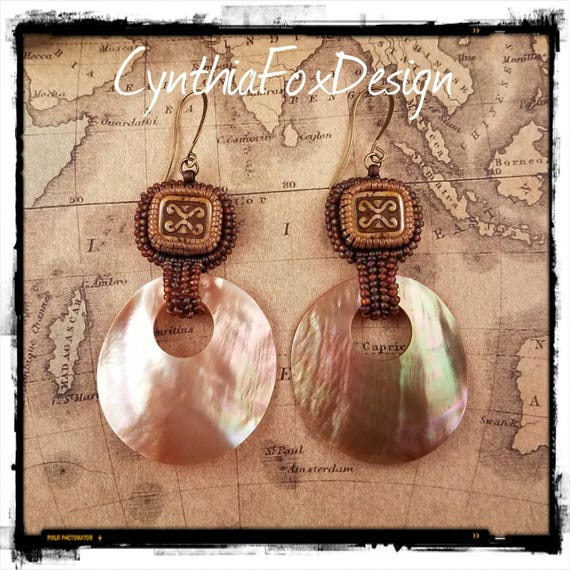 Mother of Pearl, Beachy Shell Earrings, Safari Inspired