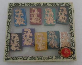 Vintage Mah Jong Mahjong Tiles Golden Dragon Chinese Game Pieces Pe Ling