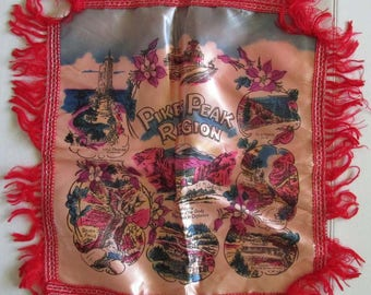 Vintage Pikes Peak Region Souvenir Pillowcase Gold Fringe Mid-Century Boho Retro