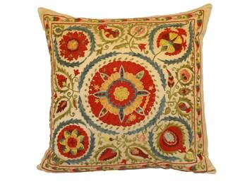 Sale!!! Handmade Suzani Silk Pillow Cover EMP901, Suzani Pillow, Uzbek Suzani, Suzani Throw, Suzani, Decorative pillows, Accent pillows