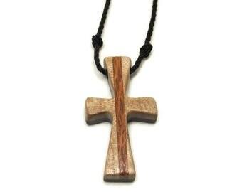 Cross Necklace Men, 2 Sided Mens Cross Jewelry, Minimalist Cross Necklace, Mens Cross Necklace Pendant, Ebony, Curly Maple & Lacewood Cross