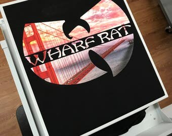 Wharf Rat- San Francisco-Golden Gate- T shirt- Limited Edition of 50-variation- Grateful dead-Wu inspired parody lot shirt + Mongo Arts tee